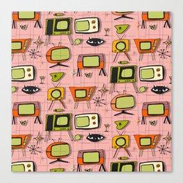 Retro Tv Pink #midcentury Canvas Print