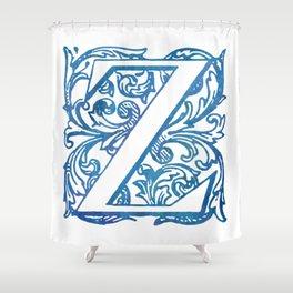 Letter Z Elegant Vintage Floral Letterpress Monogram Shower Curtain