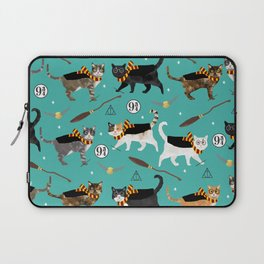 Cat wizard cats magic school pattern Laptop Sleeve
