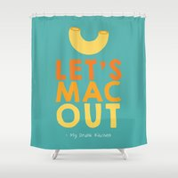 mac Shower Curtains featuring Let's Mac Out by Molly Quist