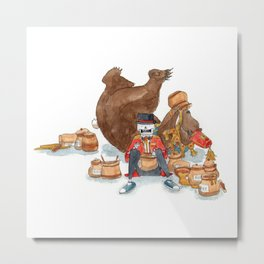 Circus bear feasting on honey with skeleton friend Metal Print