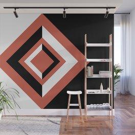 Pantone Living Coral, Black and White Geometric Shapes, Diamond Minimal Illustration Wall Mural