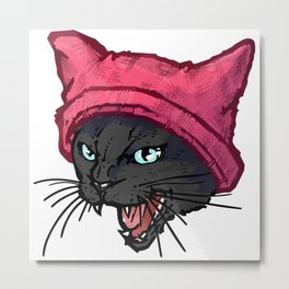 The Cat in the Hat (Black) Metal Print