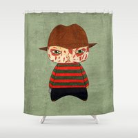 freddy krueger Shower Curtains featuring A Boy - Freddy Krueger by Christophe Chiozzi