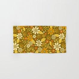 1970s Retro Flowers Pattern in Yellow, Orange & Olive Green Hand & Bath Towel