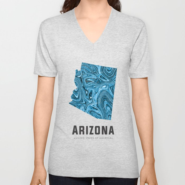 Arizona - State Map Art - Abstract Map - Blue Unisex V-Neck