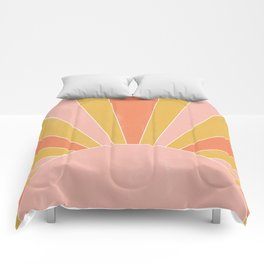 yellow and pink abstract sunrise Comforters