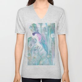 Pastel Blue Flows - Abstract Acrylic Art by Fluid Nature Unisex V-Neck