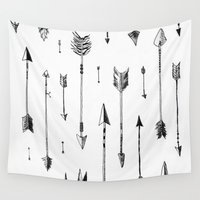 arrows Wall Tapestries featuring Arrows by Samantha Crepeau