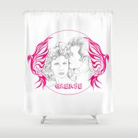 grease Shower Curtains featuring Grease (Sketch & bird design) by Rene Alberto