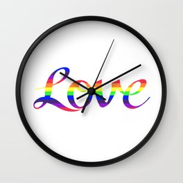 Love Script Rainbow Color Stripes Wall Clock