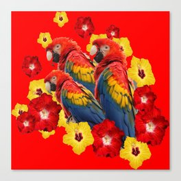 TROPICAL BLUE MACAWS & RED YELLOW HIBISCUS RED ART Canvas Print