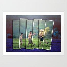 Cambodian farmer boys 2 Art Print
