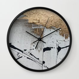 Still: an abstract mixed media piece in black, white, and gold by Alyssa Hamilton Art Wall Clock