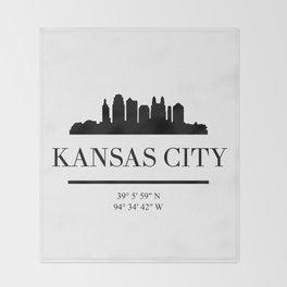 KANSAS CITY BLACK SILHOUETTE SKYLINE ART Throw Blanket