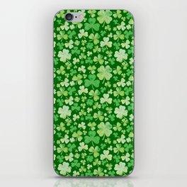 Lucky Green Watercolour Shamrock Pattern iPhone Skin