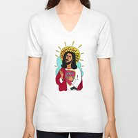 jesus V-neck T-shirts featuring Jesus by Maxim Pavlyuk