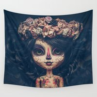 calavera Wall Tapestries featuring Thunder the calavera by Lovely Beyond