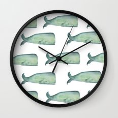 Friendly whale from the sea Wall Clock