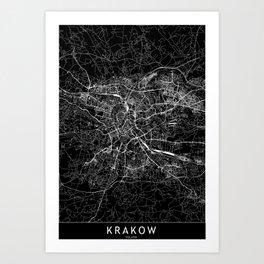 Krakow Black Map Art Print