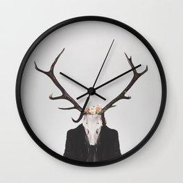 Horns & Flowers Wall Clock