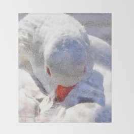 White Preening Duck - Feather and Down Close Up Throw Blanket