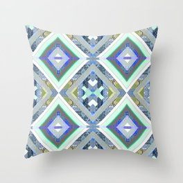Elegant Boho Cool Tone Sacred Geometry Quilt Print Throw Pillow