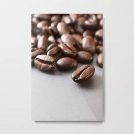 Coffee Beans on Grey Surface Metal Print
