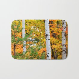 Birch Trees and Autumn Colors Bath Mat