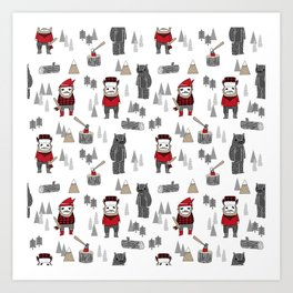 Forest lumberjack and bear nursery kids cute woodland camper gifts Art Print
