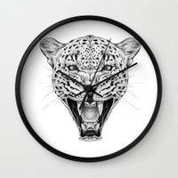 leopard Wall Clocks featuring Leopard by Libby Watkins Illustration