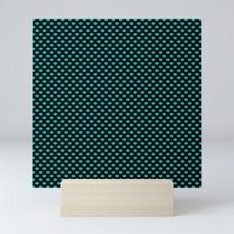 Neon Aqua Blue Kiss Lips On Black Mini Art Print