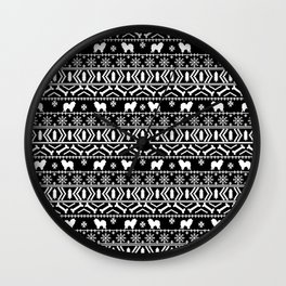 Chow Chow fair isle christmas pattern minimal ugly sweater dog breed black and white Wall Clock