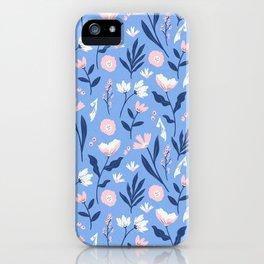 Floral Blue Pattern iPhone Case