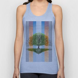 Digital painting of the seasons of the year in a tree Unisex Tank Top