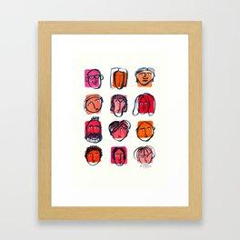 Red faces Framed Art Print