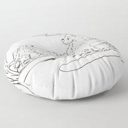 Snowboarding Bears on a Chair Floor Pillow