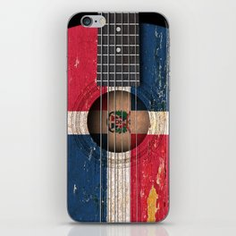Old Vintage Acoustic Guitar with Dominican Flag iPhone Skin