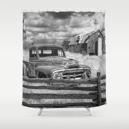 Black and White of Rusted International Harvester Pickup Truck behind wooden fence with Red Barn in Shower Curtain