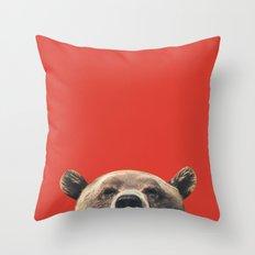 Bear - Red Throw Pillow