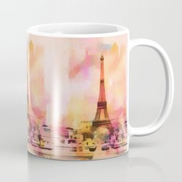 Paris Eifel Tower Abstract Art Illustration pink orange yellow Coffee Mug