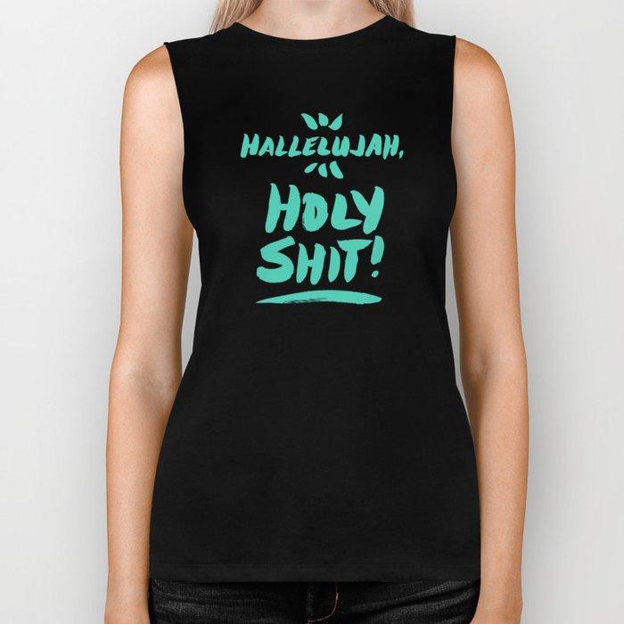Hallelujah, Holy Shit – Turquoise Biker Tank