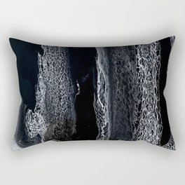 Black and White Acrylic Swipe Abstract Rectangular Pillow