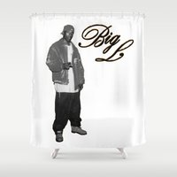 2pac Shower Curtains featuring Big L //Black&White by Gold Blood