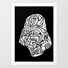 Darth Vader [White on Black] Art Print