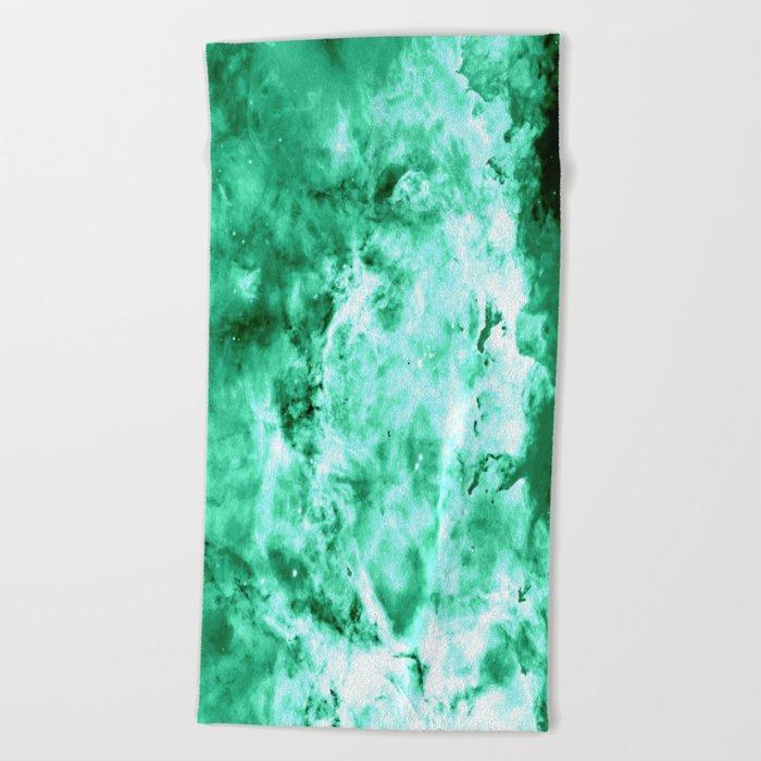 Sea Green Nebula Waves Beach Towel
