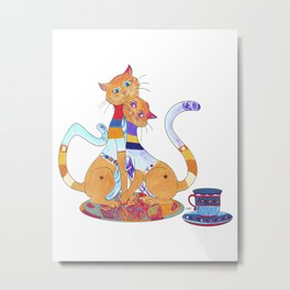 Tea for 2 Kitty Loves Metal Print