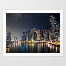 Dubai Marina on a cold night Art Print