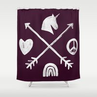 spice Shower Curtains featuring Sugar and Spice Compass by Picomodi