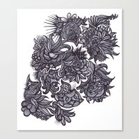 zentangle Canvas Prints featuring Zentangle; by Shivani C